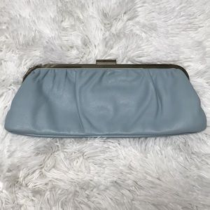 Express baby blue leather clutch
